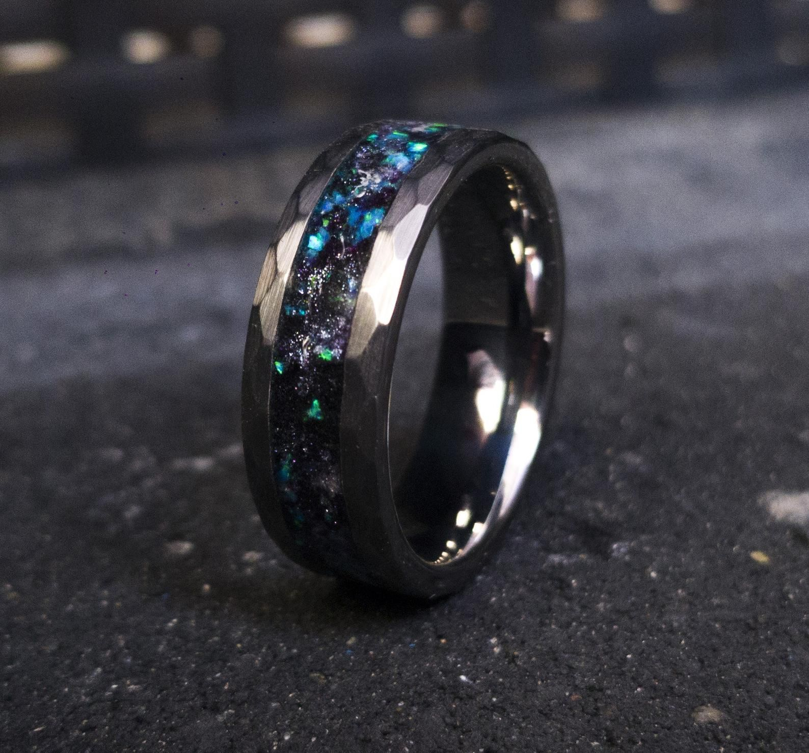 Sale Mens Opal Ring Galaxy Opal Tungsten Ring For Men Meteorite Opal Ring Hammered Wedding Band Men Ring With Opal Inlay Engagement Rings Opal Tungsten Mens Rings Men Diamond Ring