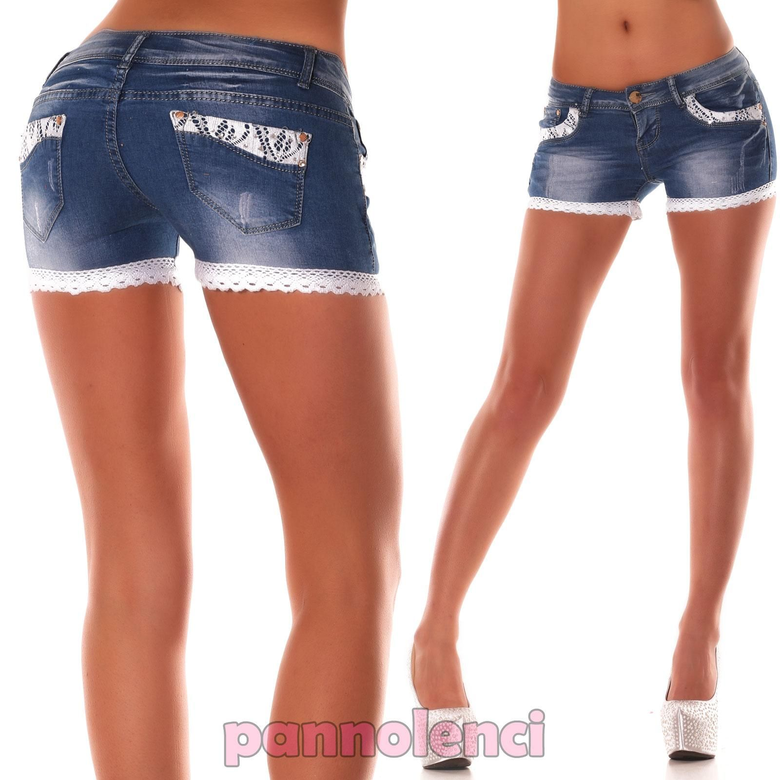 Pantaloncini-donna-shorts-JEANS-pizzo-strass-skinny-aderenti-hot-pants -CZP004 ab9af3124f8