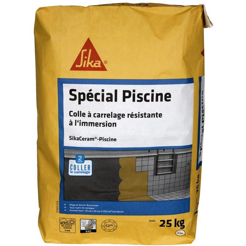 Colle A Carrelage Exterieur Sika Sikaceram Piscine 25kg 412794 Drinks