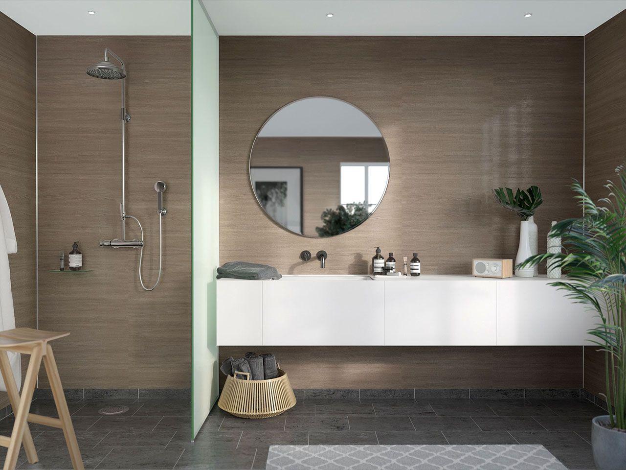 Spa Look With Laminate Shower Walls Marina Grey Oak Diy Friendly Innovate Building Solutions Bathroom Wall Panels Round Mirror Bathroom Cement Bathroom