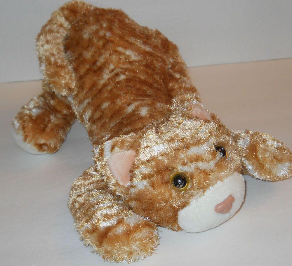 "Orange Stripe Tabby Kitty Cat Plush Stuffed Animal 12"" Top"