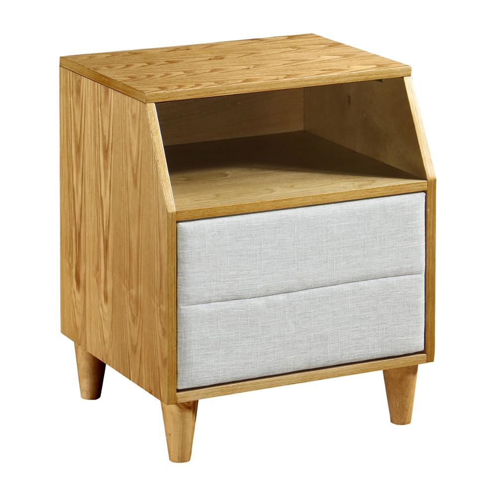 Oak Light Grey Deakin Wooden Bedside Table Wooden Bedside
