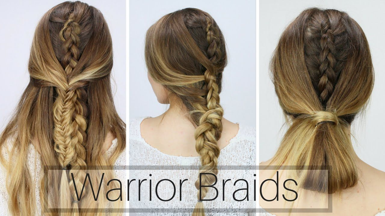 3 Easy Warrior Braids (Dirty Hair Styles!!) - YouTube | Hairstyles ...