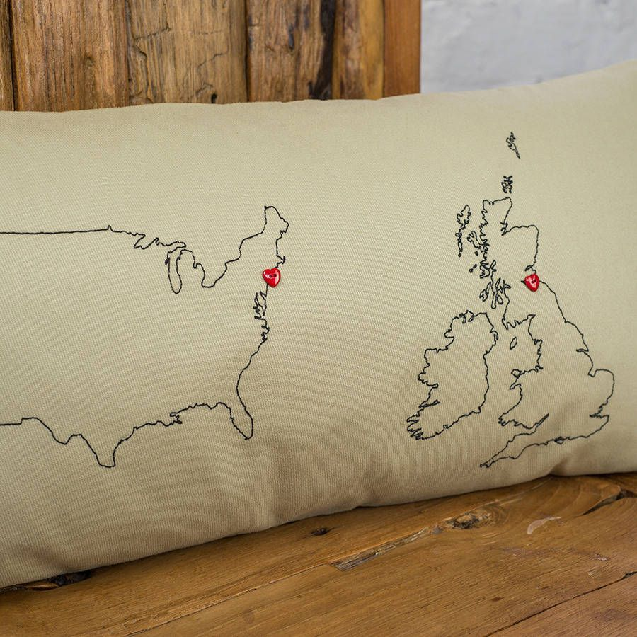 Personalised Maps Cushion Cover Personalized map