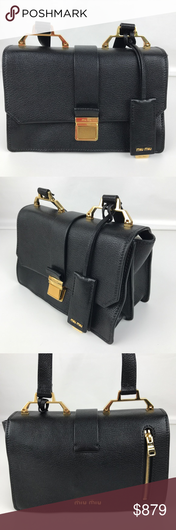 New Miu Miu Madras Black Leather Shoulder Bag. Authentic Miu Miu style  5BH609. New, with Tags, Authenticity Card and Care Card. cfba7771fa