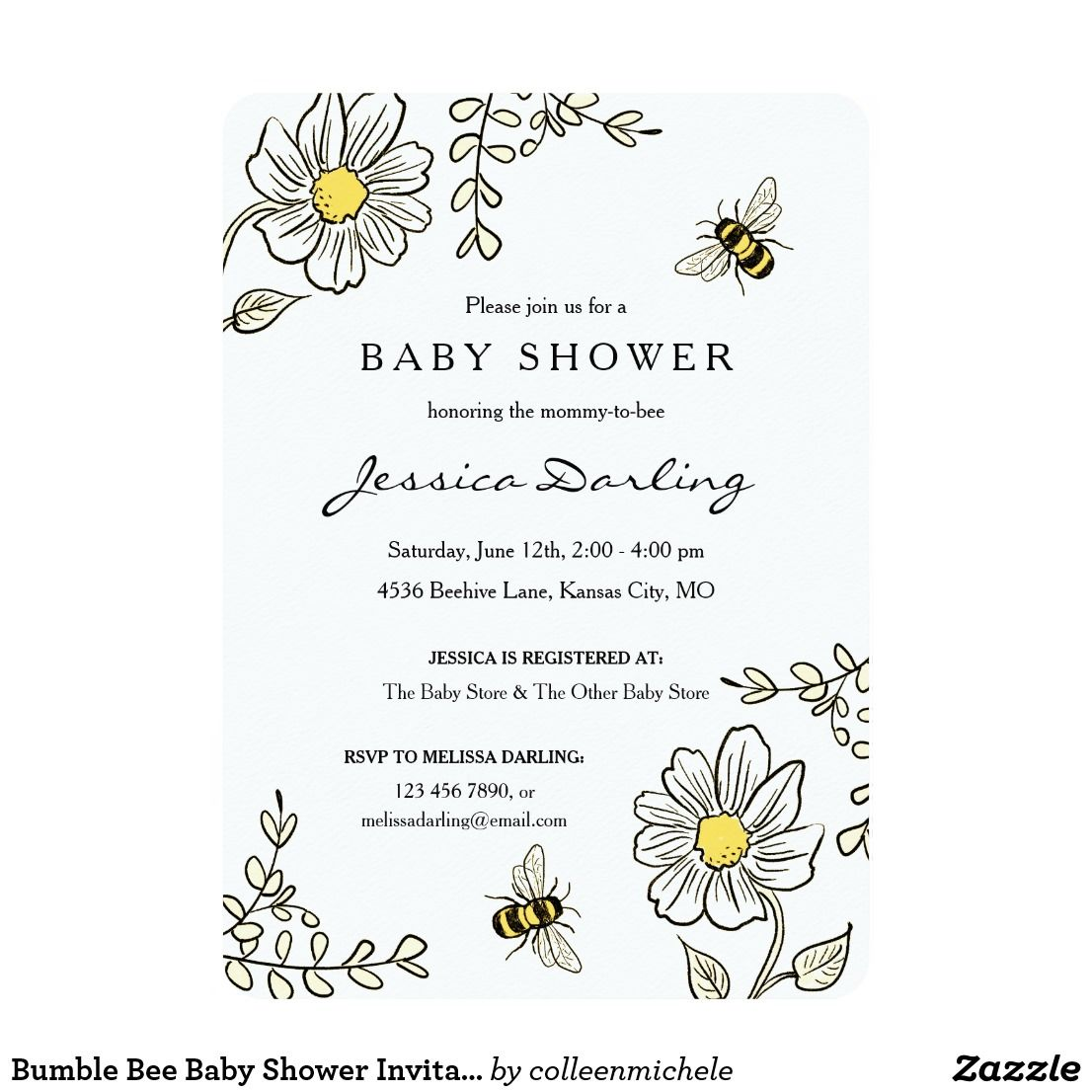 Bumble Bee Baby Shower Invitations | Yellow Floral | January ...