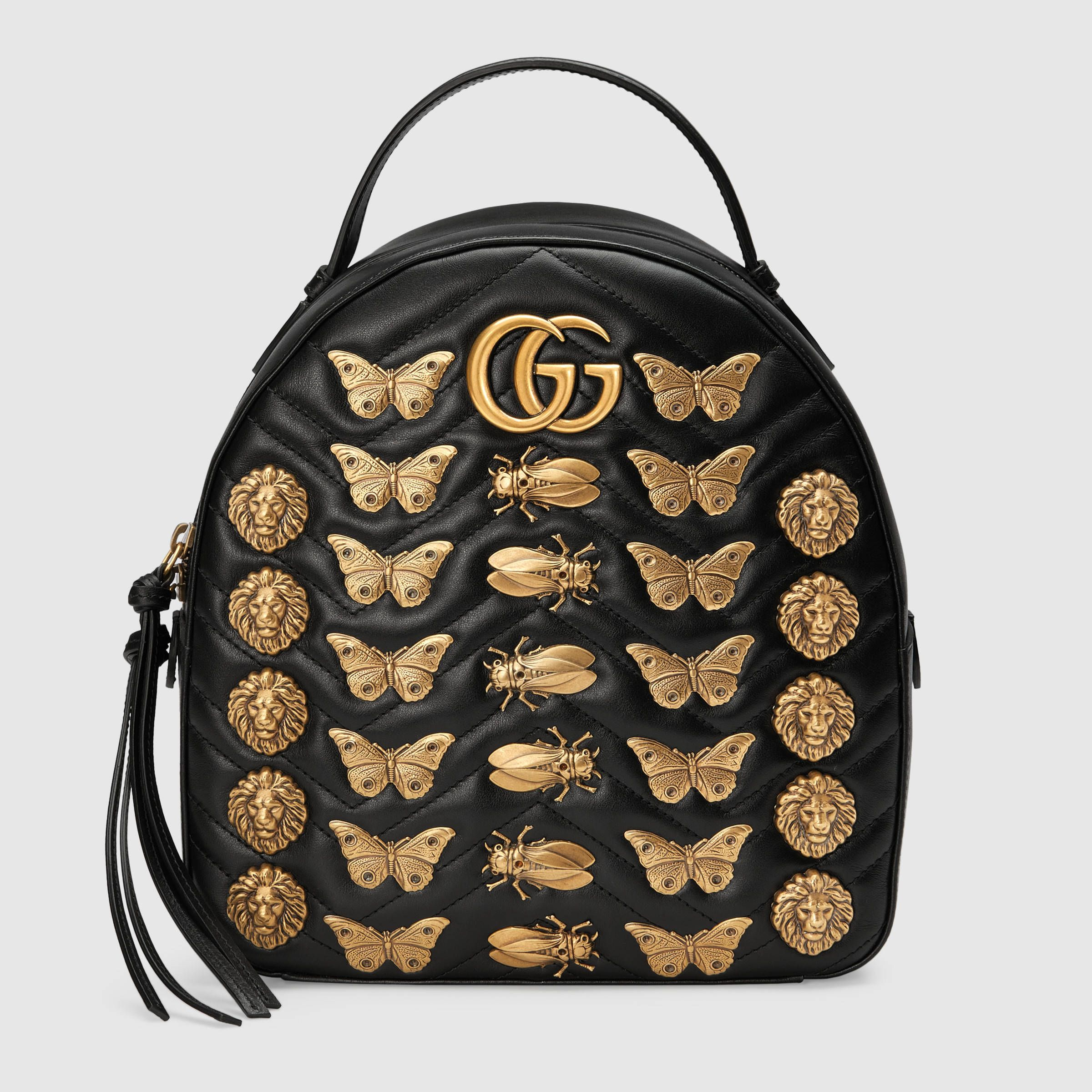 41362cc55 GG Marmont animal studs leather backpack | bags in 2019 | Leather ...