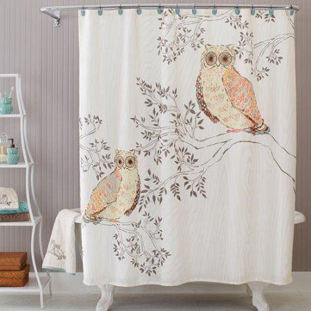 Better Homes Gardens Owl Shower Curtain 1 Each Walmart Com Owl Shower Owl Bathroom Decor Owl Home Decor