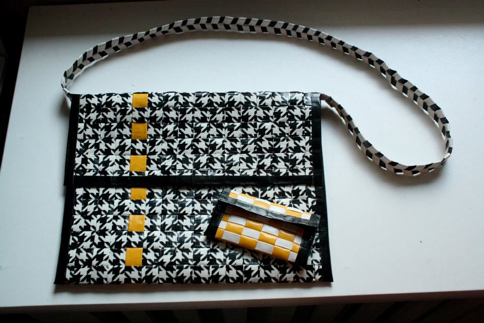 Duct tape iPad case with zipper strap and business card holder. Made ...