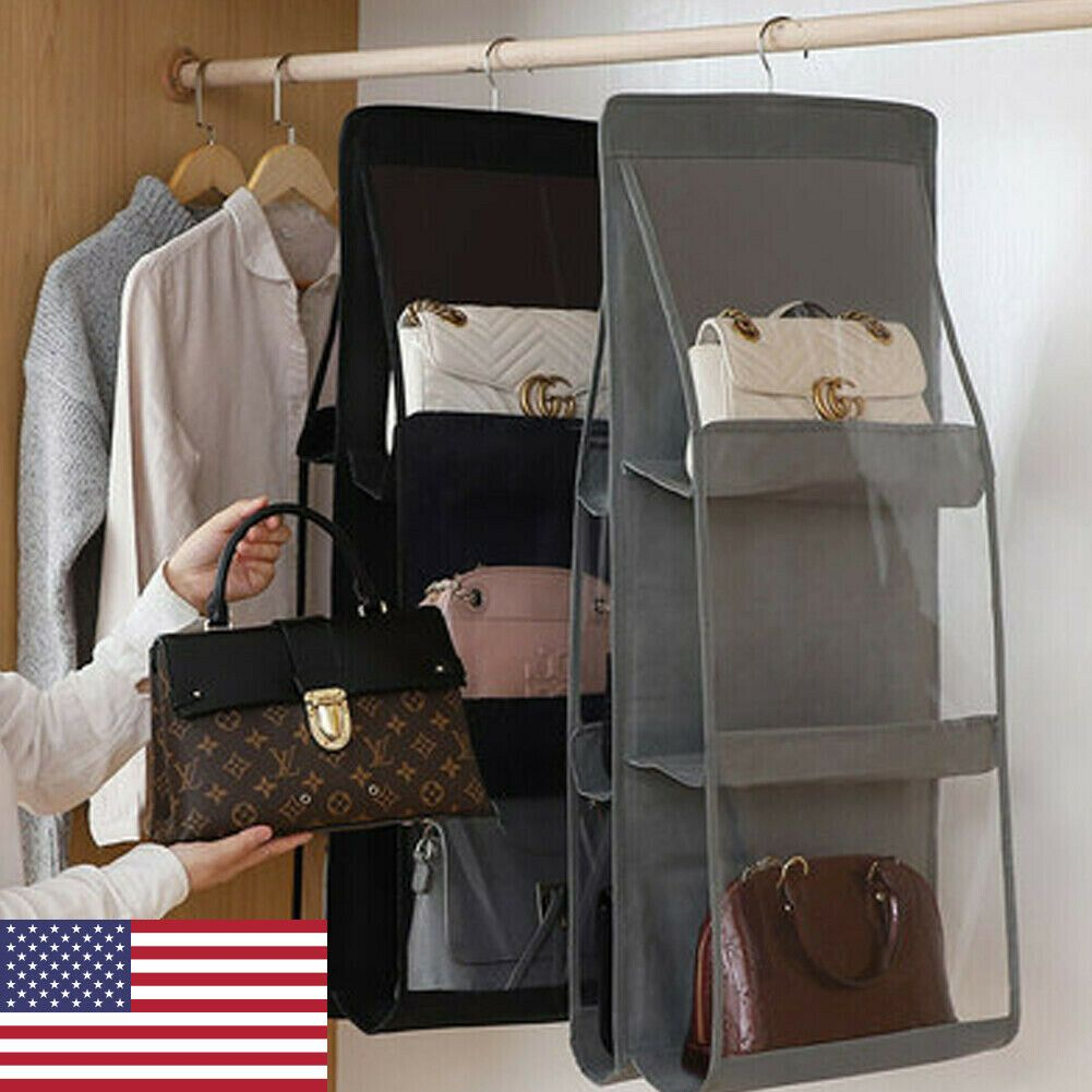 Hanging Handbag Organizer6 Pockets Shelf Bag Storage Holder Wardrobe 8 59 Organizer Shelves Ideas Of Organizer Shelves Orga In 2020 Handbag Storage Purse Storage Handbag Organization