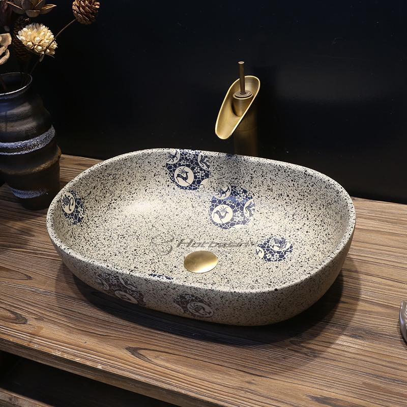 Vintage Uponmount Oval Ceramic Vessel Sinks With Enamelling For Bathroom In 2020 Ceramic Vessel Sink Vessel Sinks