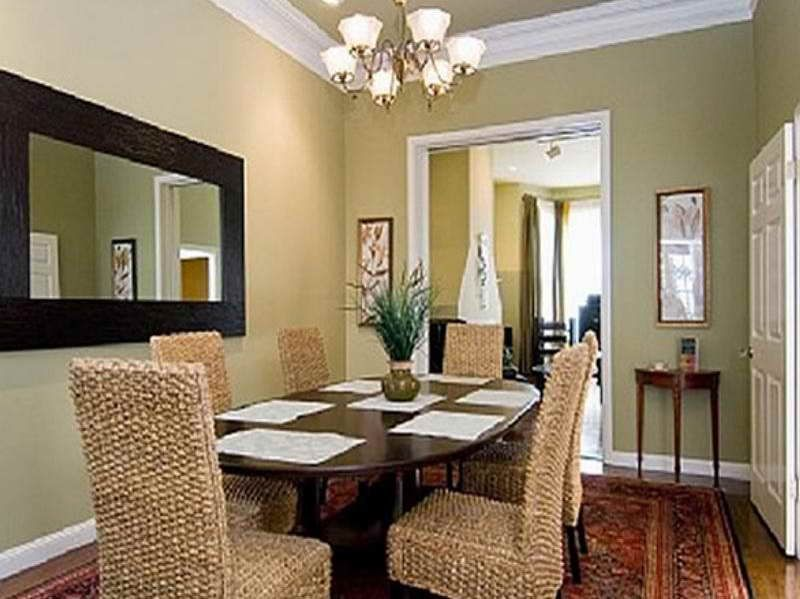 A Thick Wood Framed Mirror Matches The Other Elements In The Dining Room Dining Room Colors Dining Room Wall Color Dining Room Small
