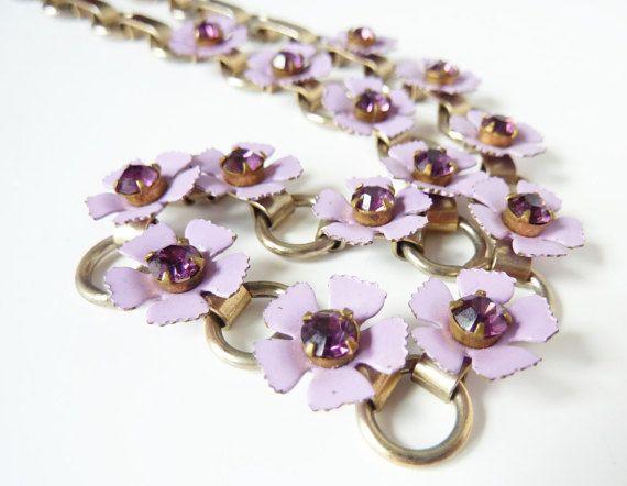 Vintage Purple Flower Necklace 1960s by PopAndGlamVintage on Etsy