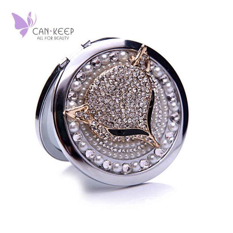 Portable Makeup Mirror Compact Double Sided Folding Metal Mirror for Making Up Bling Crystal Rhinestone Fox Beauty Alternative Measures