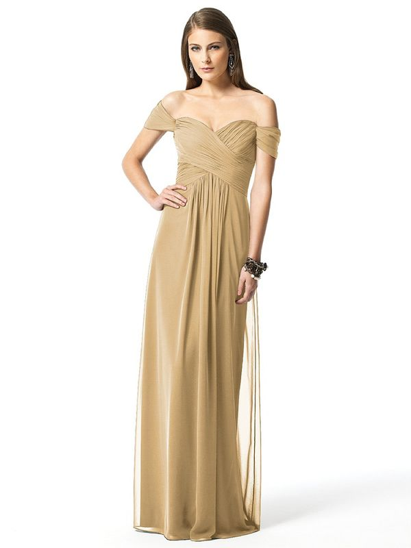 long off the shoulder gold bridesmaid dresses | Bridesmaids dress ...