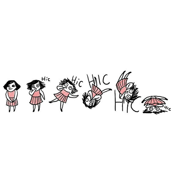 Hiccups - print - cute silly funny cartoony illustration of a girl with hiccups. In black and pink - NEW SHOP