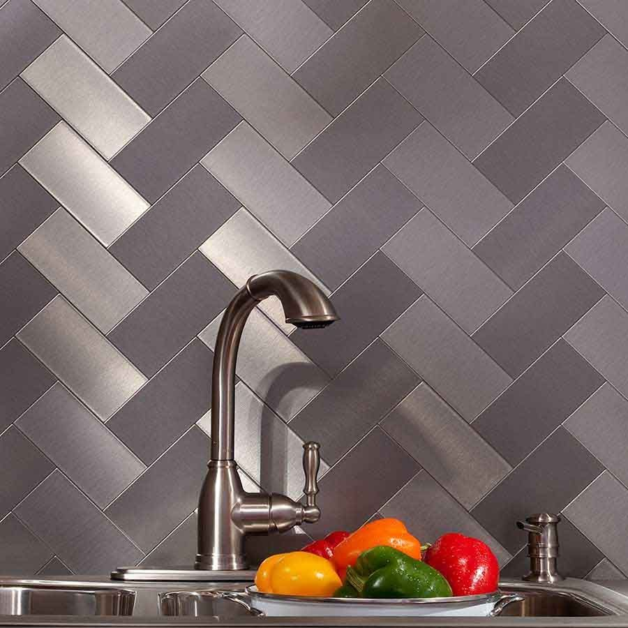 Kitchen Backsplash Panel Aspect Backsplash 3x6 Brushed Stainless Short Grain Metal Tile