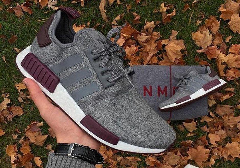 adidas nmd r1 in grigio / bianco / rosso / scarpe da ginnastica pinterest
