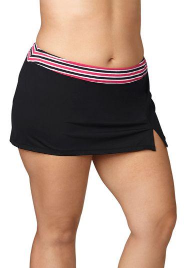 efd59a1446 black plus size swim skirt with stripe trim (original price