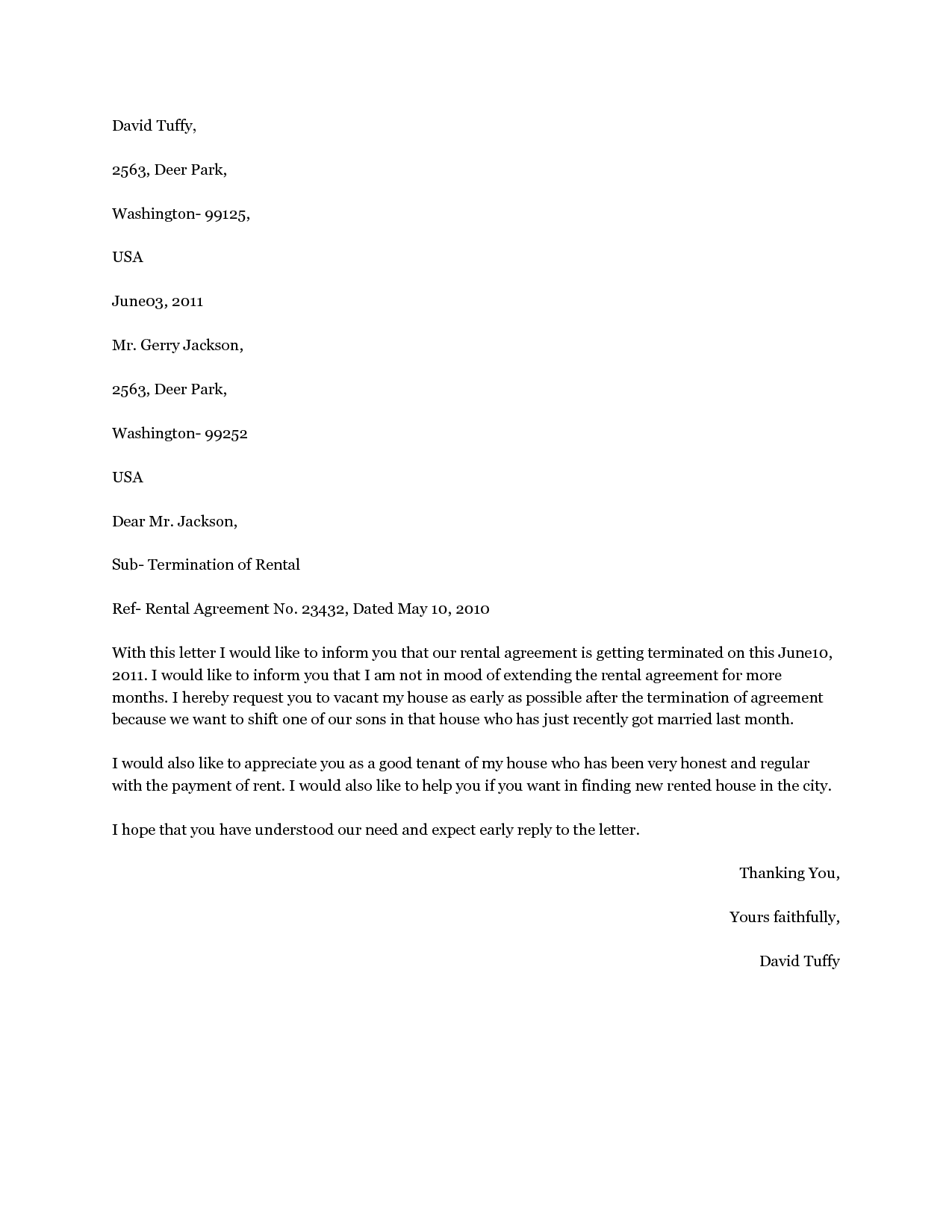 Lease Termination Letters Agreement Letter Sample Editable Rental