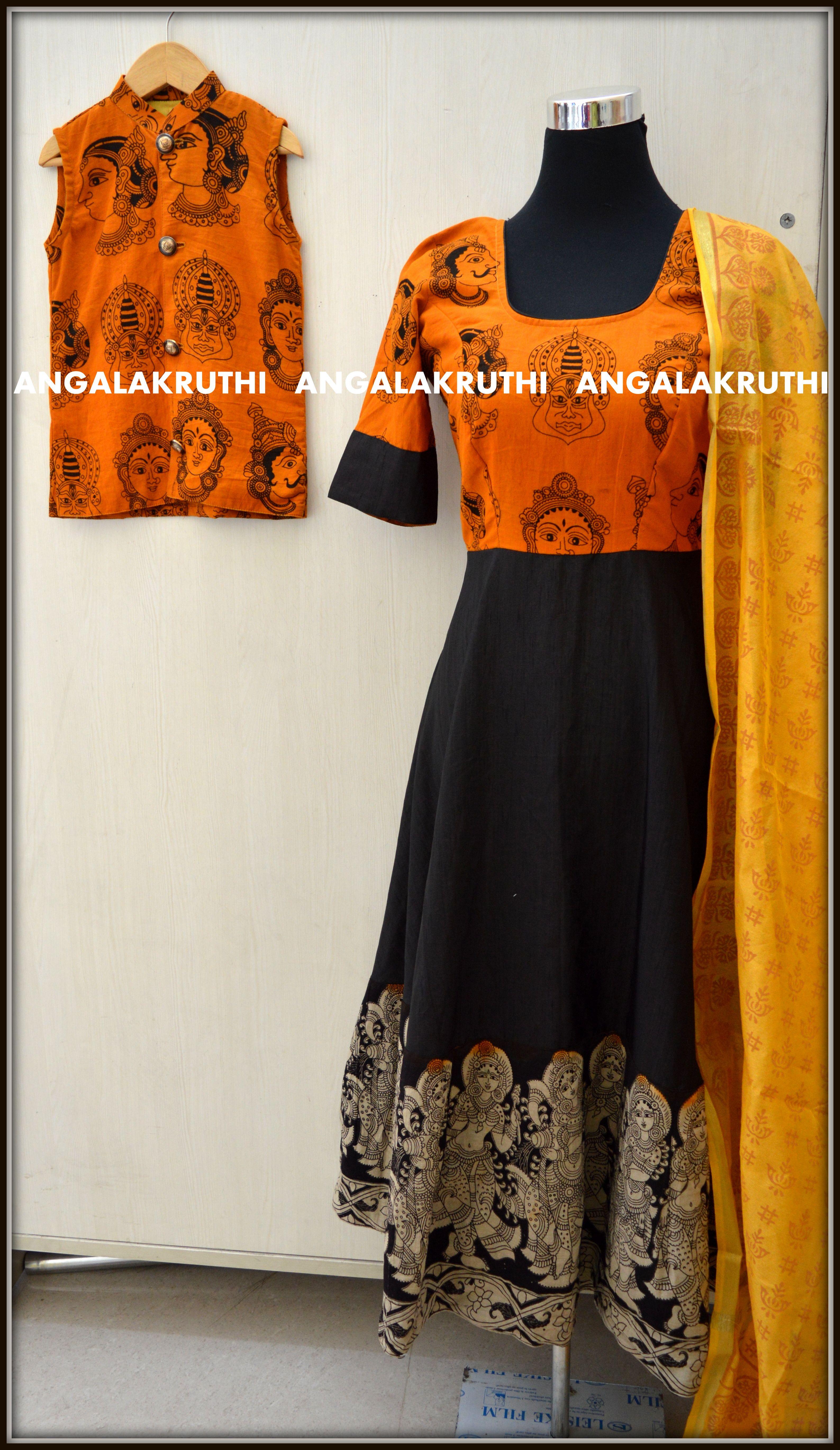 Kalamkari Designs By Angalakruthi Ladies And Kids Designer Boutique In Bangalore Mom N Boy Design Kalamkari Dresses Frock For Women Kurta Designs