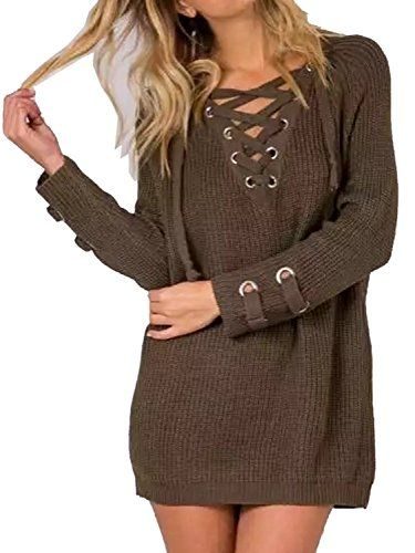 3906251ee5 Summer Jun Womens Lace Up Front V Neck Long Sleeve Knit Sweater Dress Top  Army Green MediumUS Size46    Find out more about the great product at the  image ...