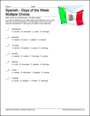 worksheets - days of the week - spanish - weekdays - alien ...