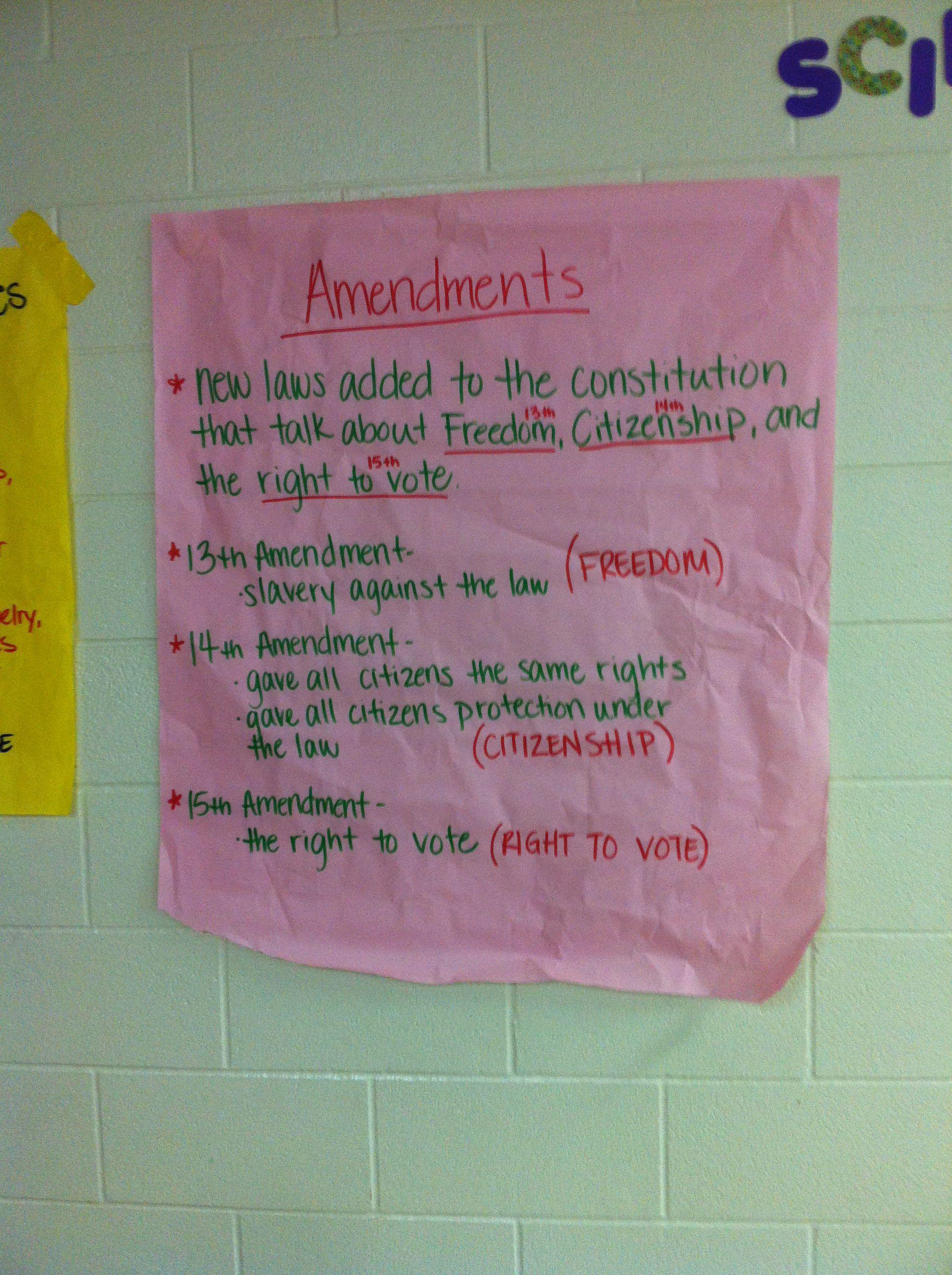 Amendments Anchor Chart Civil War 4th Grade Social