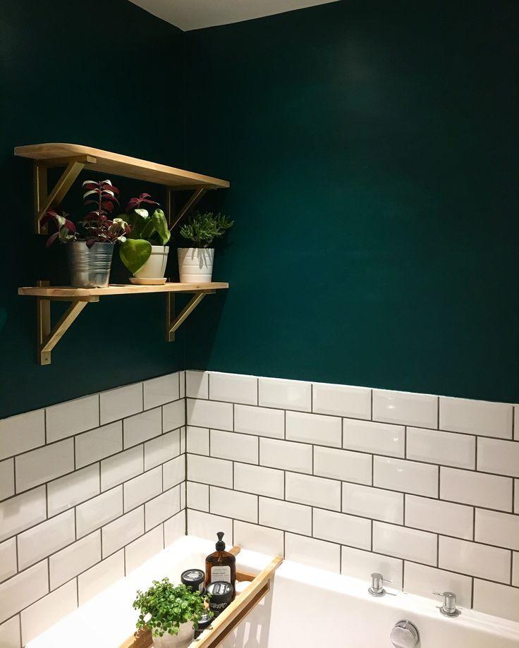 New Gorgeous Dark Green Bathroom Using Deep Sea Green By Valspar Paint Ikea Erkby Shelf Brackets And Topps Tiles Metro Tiles Dark Green Bathrooms Sea Green Bathrooms Dark Green Walls