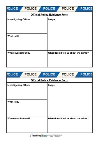 Police Evidence Forms | Reading | Incident report form, Kids police