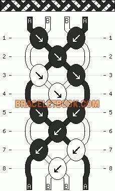 Diagonale Streifen Korbgeflecht einfache Freundschaftsarmband Muster 2 Farbe 4 Z…