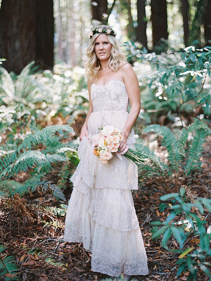 This Tiered Lace Wedding Dress By Bhldn Is Perfect For A Rustic Woodsy