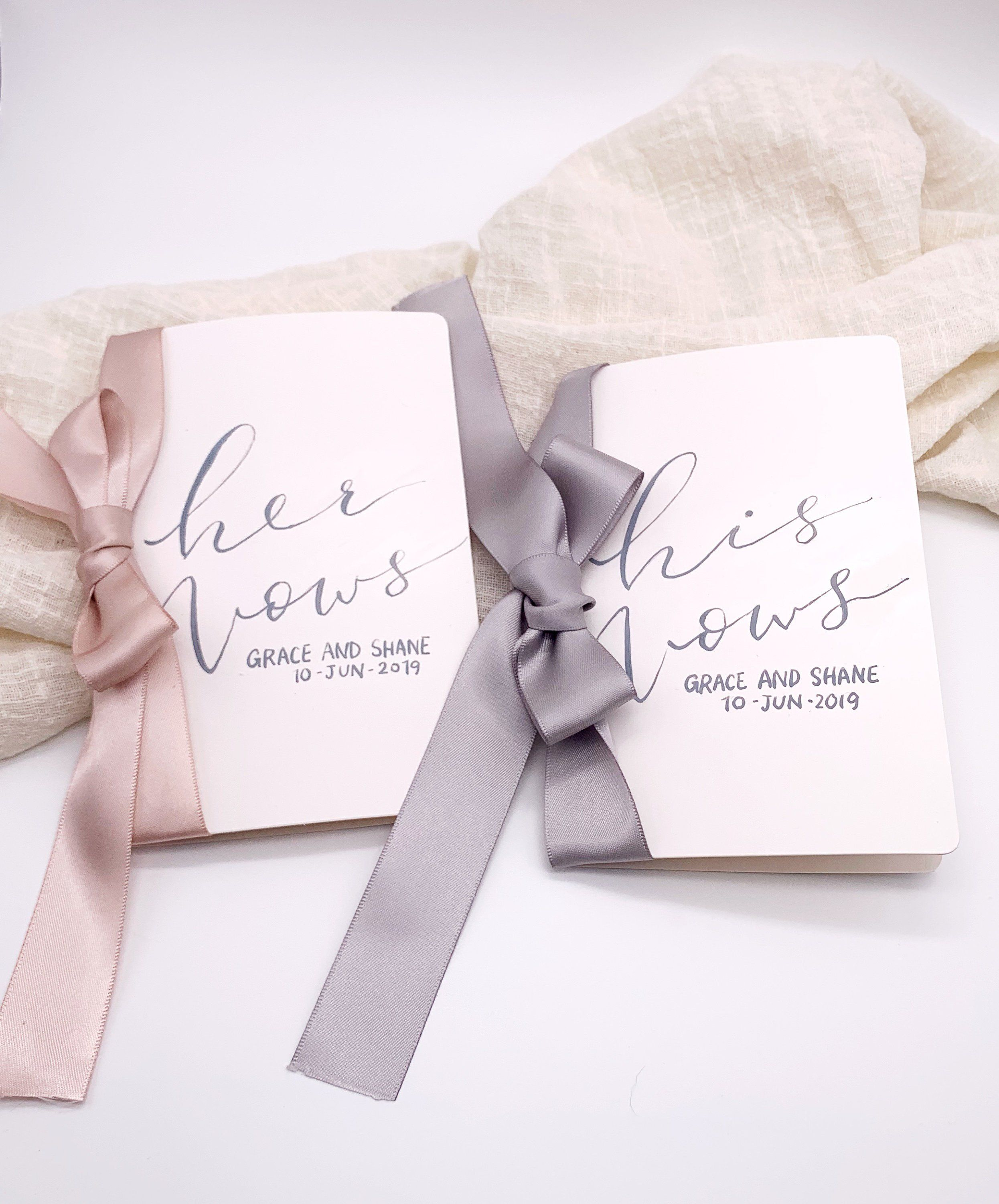 Wedding Vows Gifts Ideas: White His And Her Vow Book, Personalized, Vow Cards, Hand