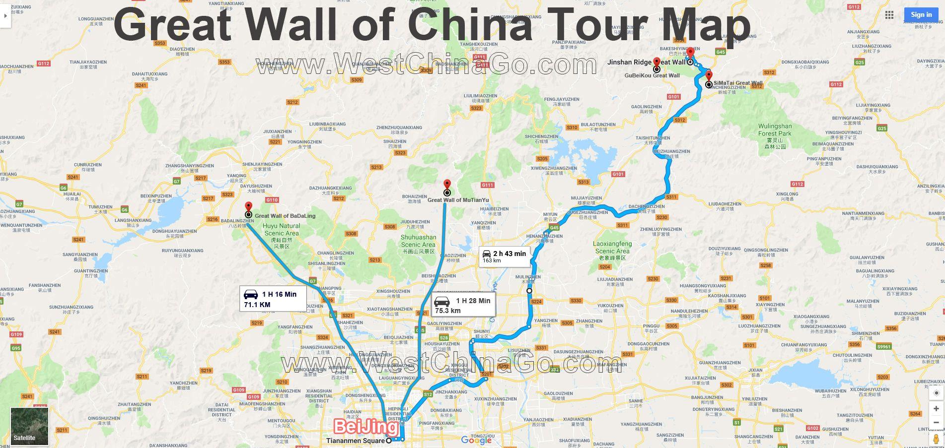 Great Wall of China Tourist Map ChengDu WestChinaGo Travel Service on