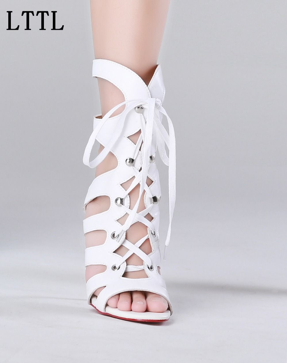 2017 New Arrival Women Gladiator Sandals Summer Cut-outs Strappy High Heels  Shoes White Sexy
