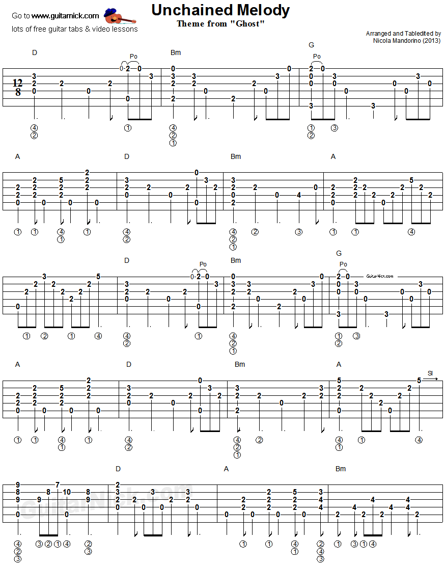 Unchained Melody Fingerstyle Guitar Tablature 1 Dulcimer