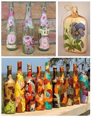 Cómo Decorar Botellas De Vidrio Con Servilletas Botellas De Vidrio Manualidades Cómo Decorar Botellas