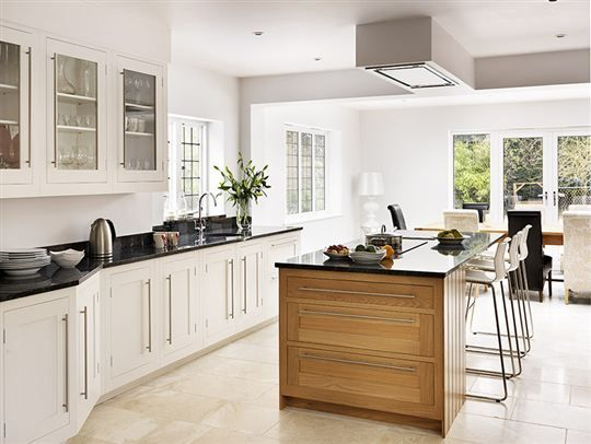 Modern White Shaker Kitchen white shaker kitchen with oak island from harvey jones | kitchen