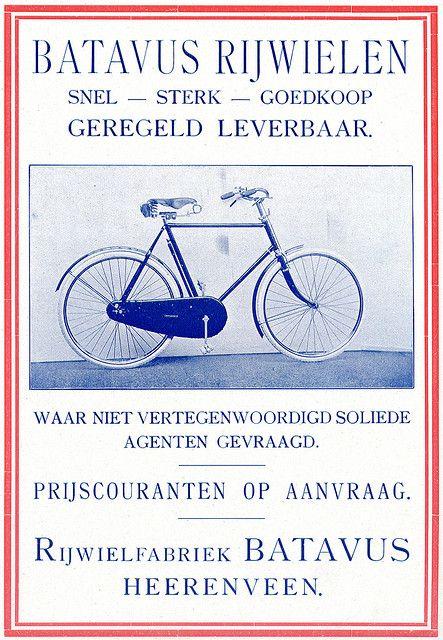 Dutch Bicycle History Batavus Rijwielen Bike Poster Vintage Advertisements Cycling Posters
