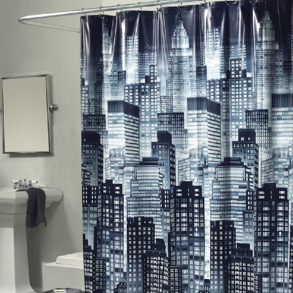 Dark City Skyline Themed Shower Curtain Graphic Art Work Gorgeous Abstract Big City Buildings Adorable Night Look Artistic Accents Black White Curtains Shower Curtain Shower Curtain Polyester