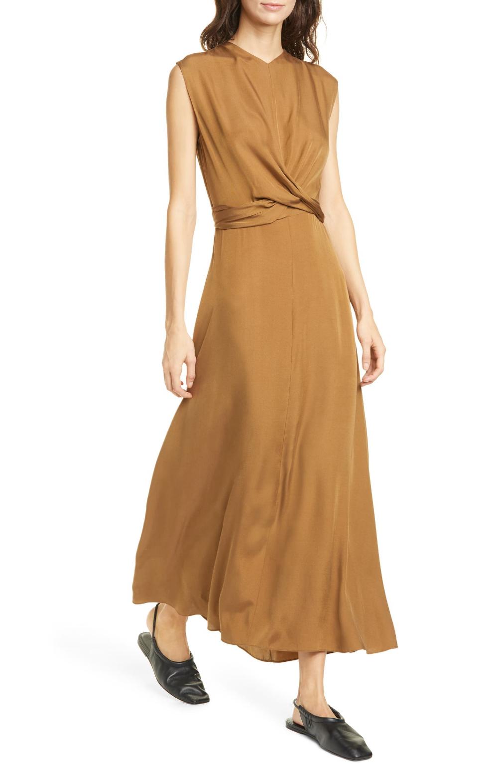 Vince Sleeveless Twist Front Dress Nordstrom Twist Front Dress Dresses Midi Dress With Sleeves [ 1533 x 1000 Pixel ]