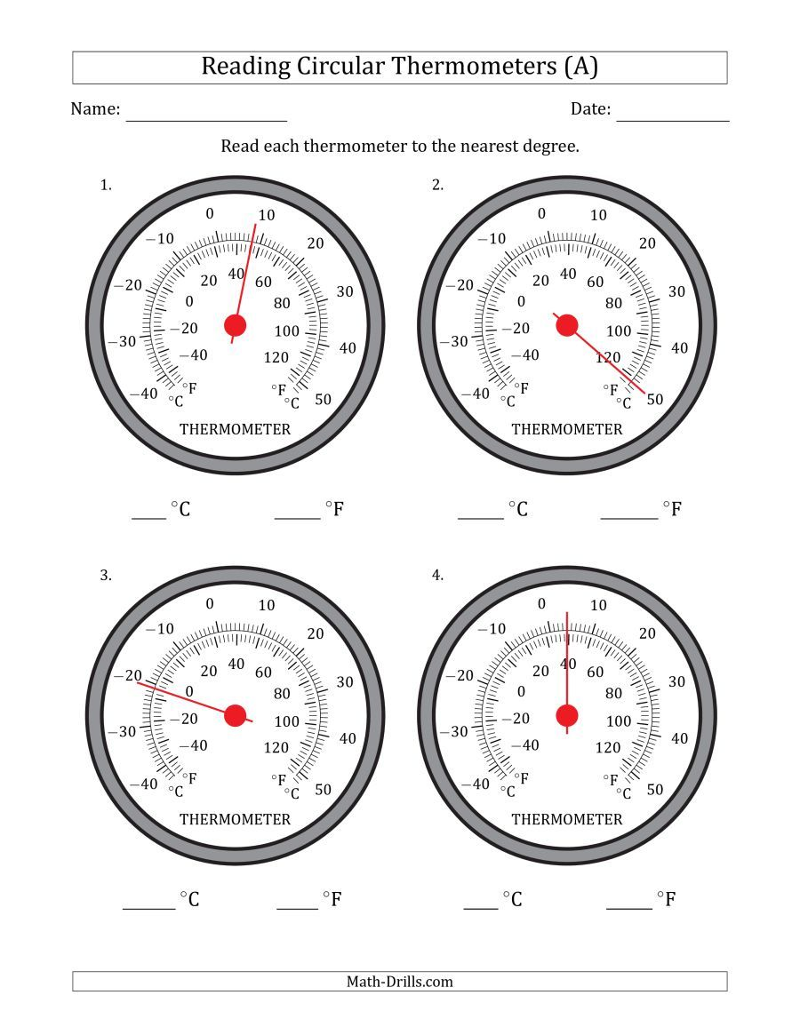 The Reading Temperatures From Circular Thermometers Celsius Dominant A Math Worksheet From The Measurement Wor Measurement Worksheets Thermometers Circular