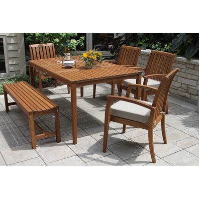 Bay Isle Home Southington 6 Piece Dining Set with Cushions   Dış mekan mobilyaları ve Mobilya