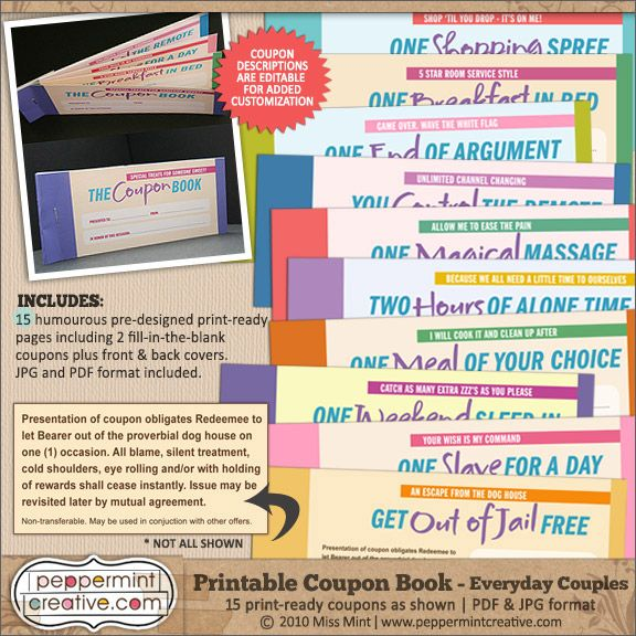 Coupon book everyday couples 795 peppermint creative printable coupon book for the kids sciox Image collections