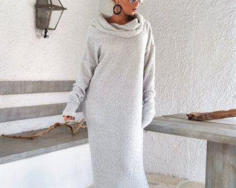 Fuori bianco inverno lana Boucle Maxi abito di SynthiaCouture