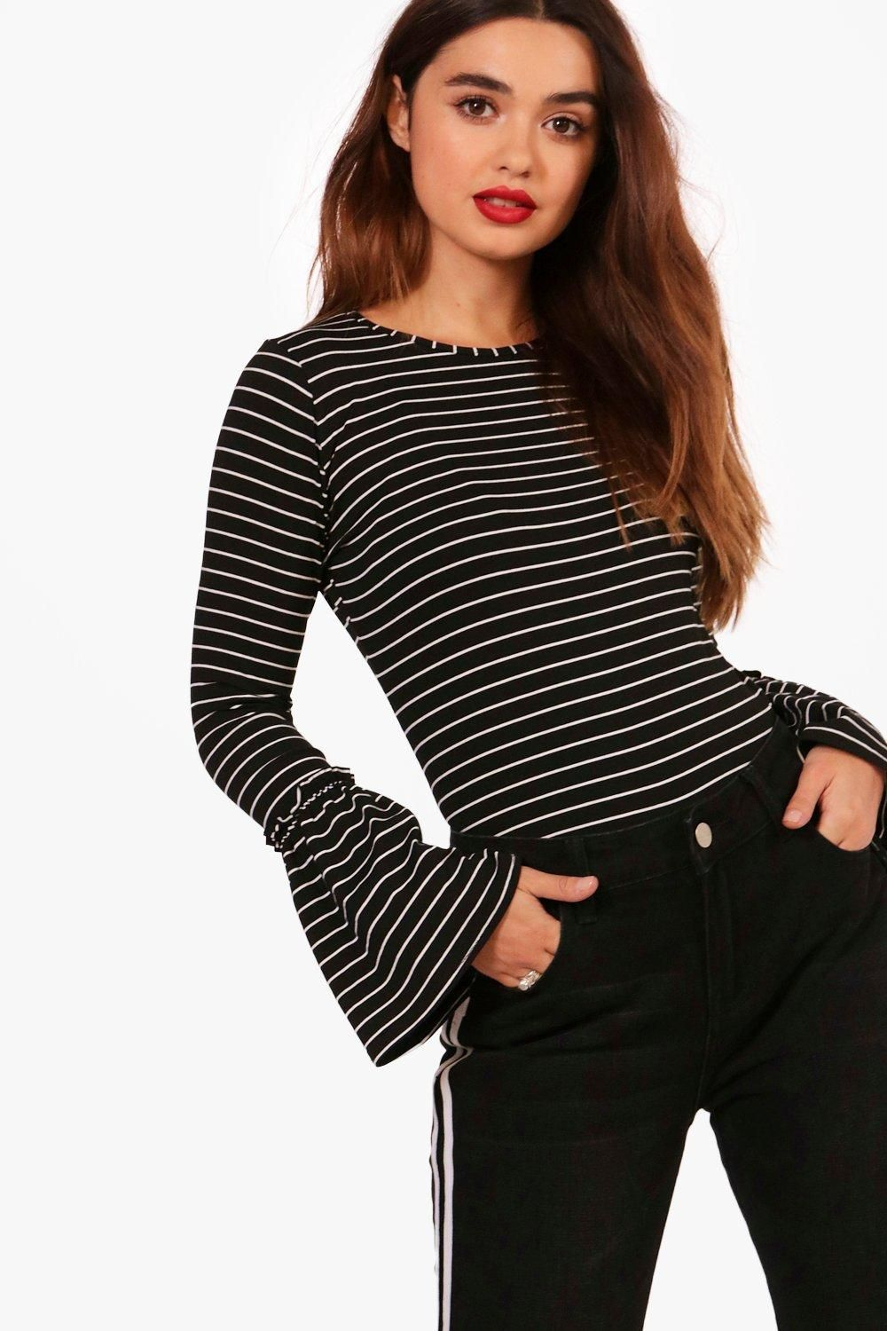 ef762852a2595 Petite Lottie Striped Frill Sleeve Top | boohoo | long sleeve bell flare  blouse in black and white horizontal stripes.