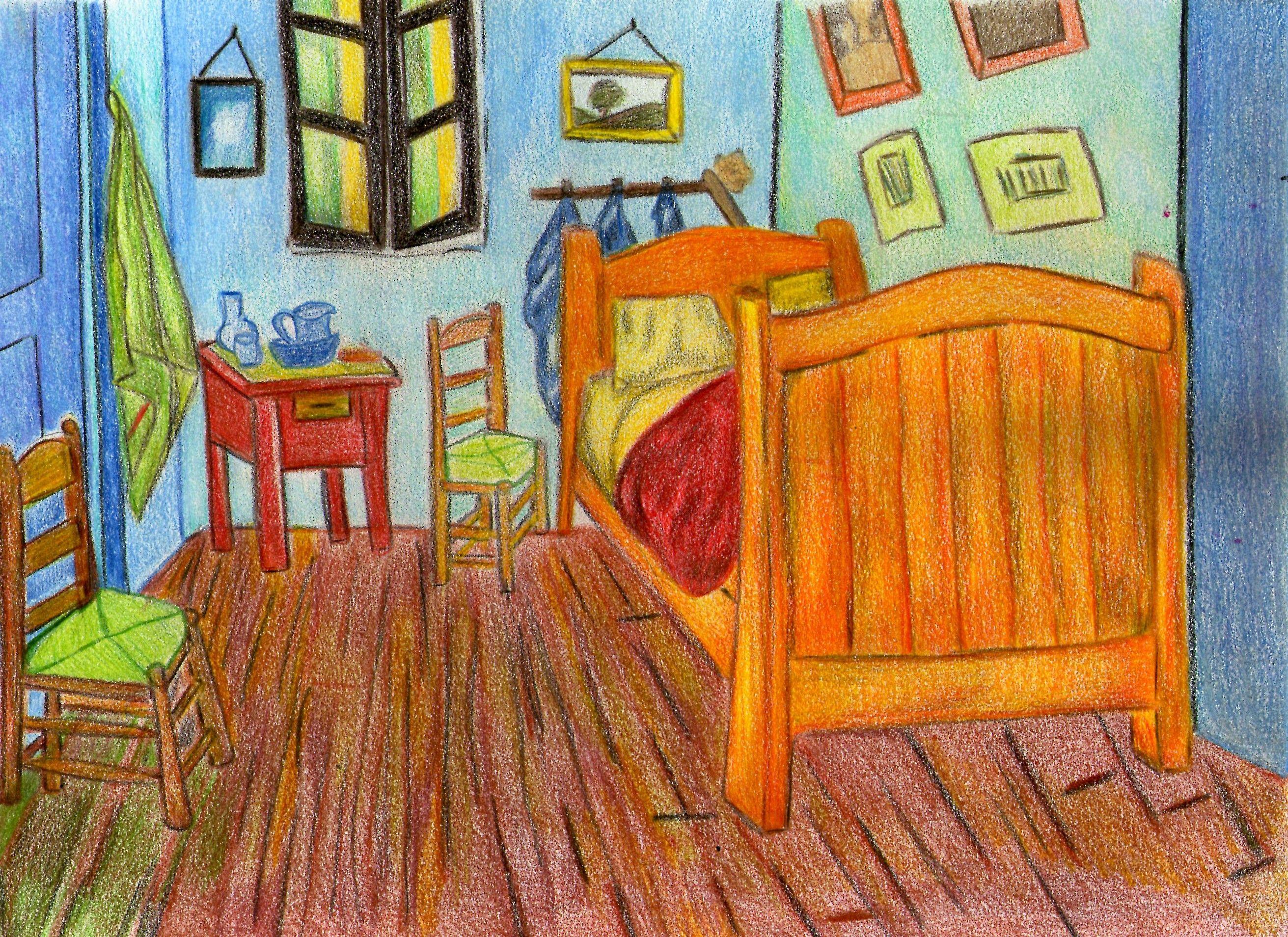 Siguiendo Los Pasos Del Gran Maestro Vincent Van Gogh La Habitación Vincent Van Gogh Dibujos De Colores Van Gogh