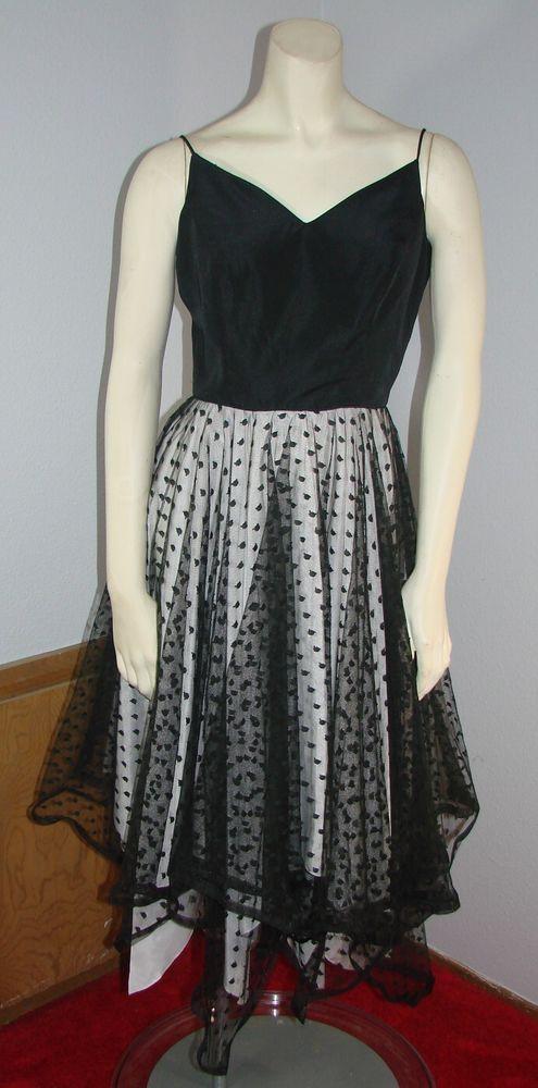Vintage 80s Black Spaghetti strap Cocktail Dress net skirt handkerchief hem M #tagremoved
