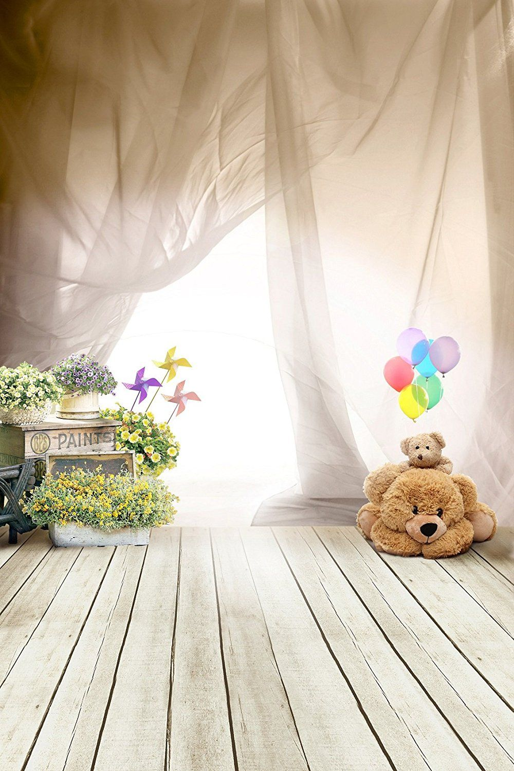 Amazon com 6 5fthx5ftw cute children photography backdrop bear on grey wood floor and tan curtain photo background for child ft048 camera photo