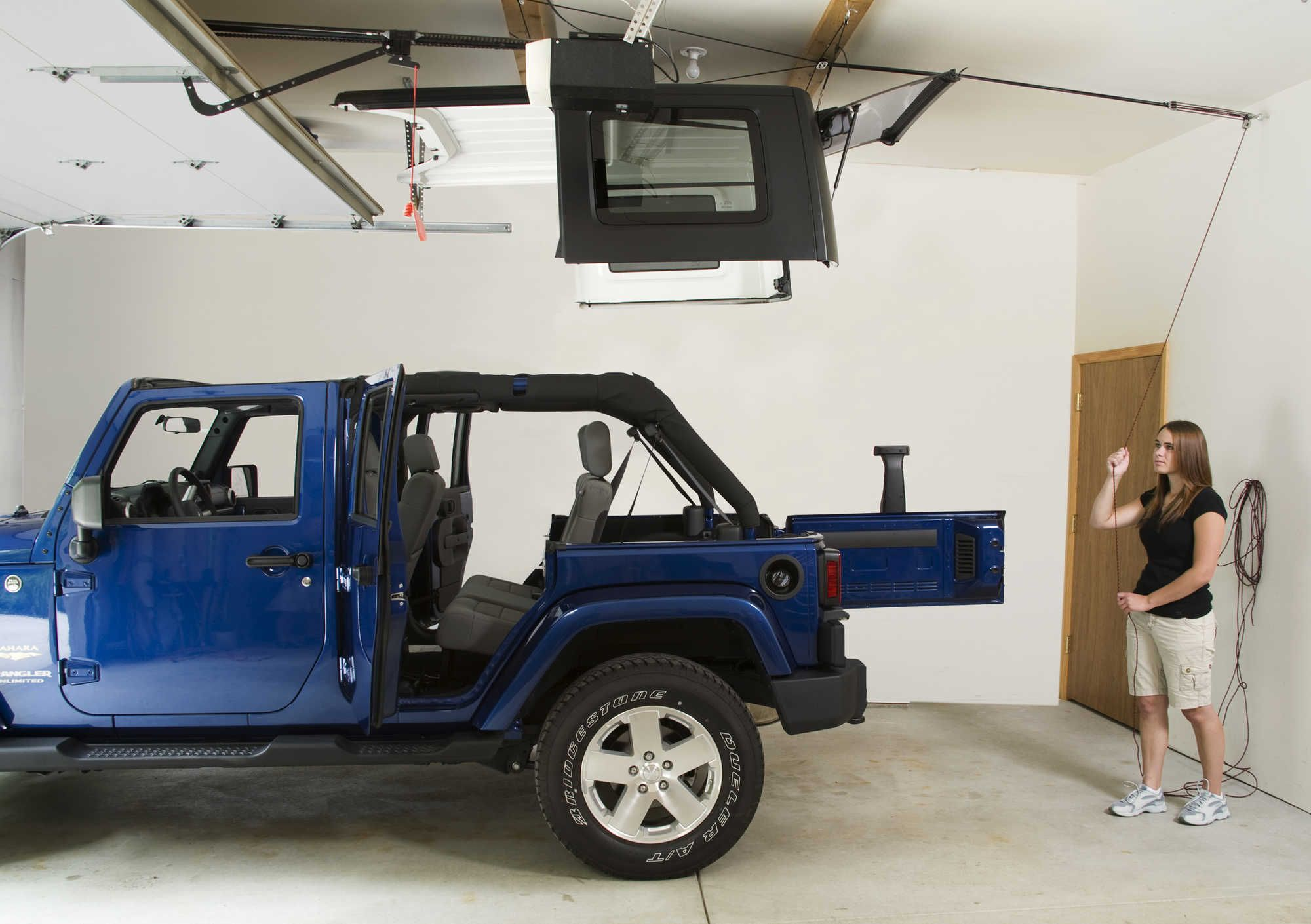 Harken 7803 Jeep Hoister Garage Storage 4 Point Lift System For 87 20 Jeep Wrangler Jl Jk Tj Yj Jeep Wrangler Garage Storage Jeep